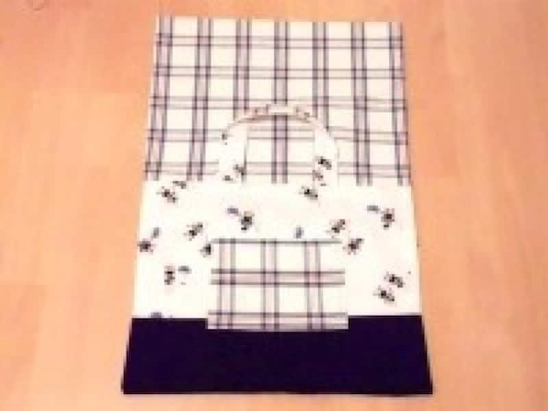 レッスンバッグ作り方・手作り|布を表側にひっくり返す