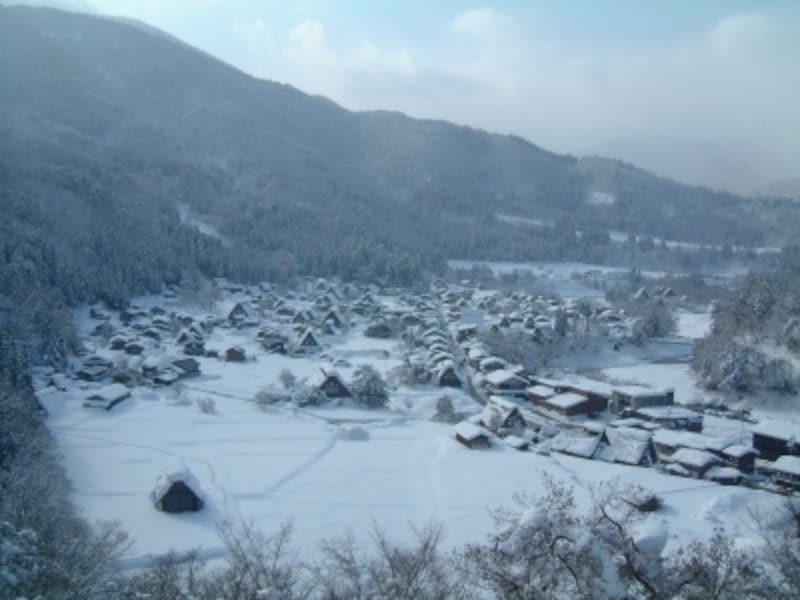 雪に染まる白川郷の合掌造り集落(1)/荻町城址・城山展望台