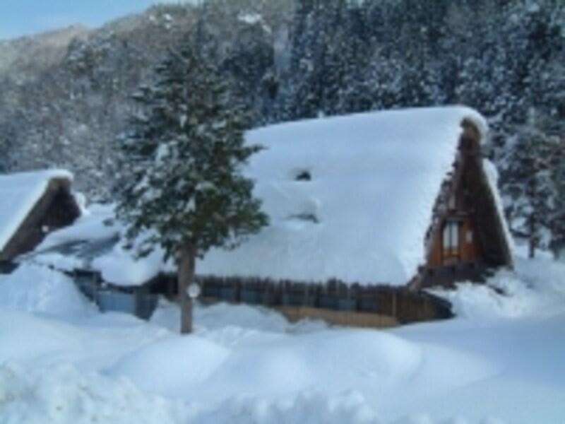 雪に埋もれた白川郷・合掌造りの建物(3)