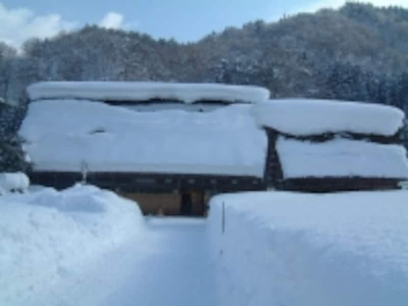 雪に埋もれた白川郷・合掌造りの建物(4)/和田家