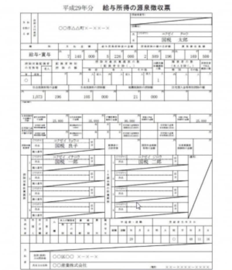 H29年源泉徴収票記載例(出典:国税庁)