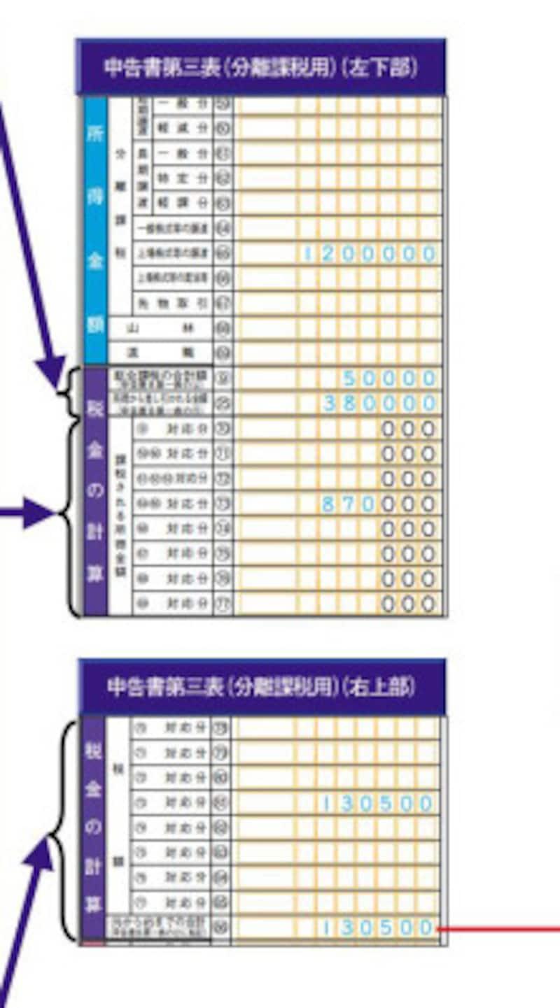 分離課税申告書 左面の記載例 (出典:国税庁資料より)