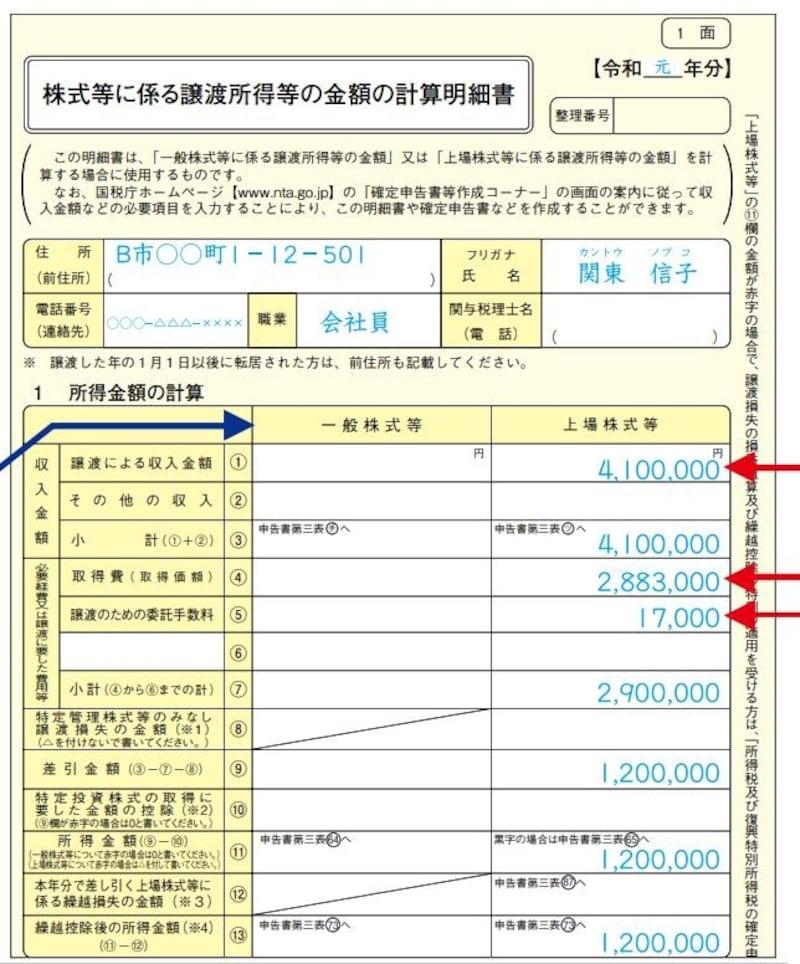 「株式等に係る譲渡所得等の金額の計算明細書」一面の記載例 (出典:国税庁 資料より)