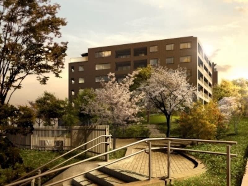 庭園空間より建物を望む「センチュリーフォレスト」完成予想図