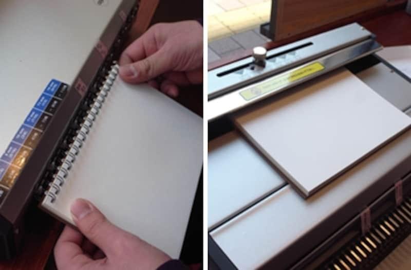 左:穴にリングを通します。右:開いた状態のリングを機械で閉じます。
