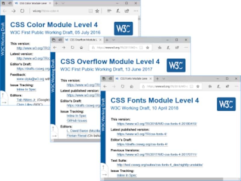 CSS4に分類されるLevel4の各モジュールも策定が進んでいる