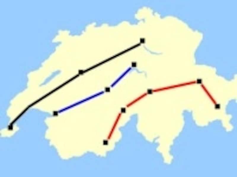 スイスの主な3ルート