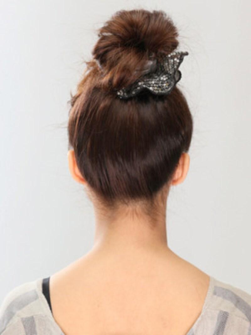 フェイク前髪の作り方・簡単お団子ヘアアレンジ
