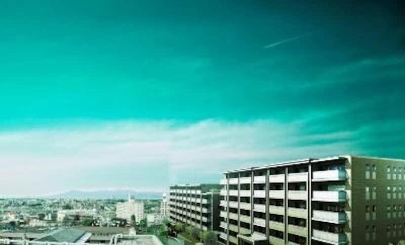 田園都市の街並みが広がる高台に建つ外観完成予想図