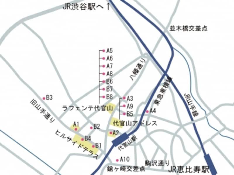 代官山の地図