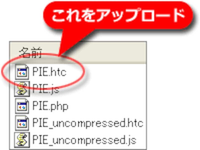 PIE.htcファイルのみをアップロードする