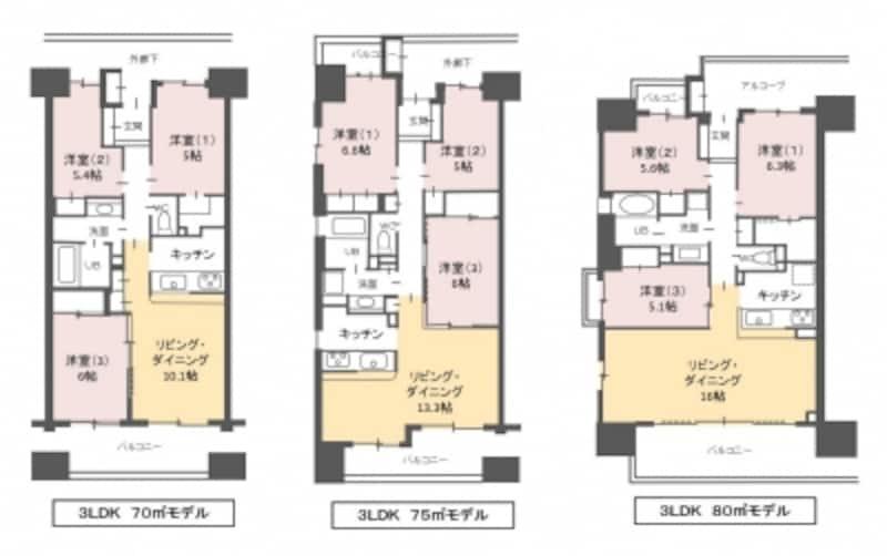 【図1】3LDKで70m2、75m2、80m2のマンションの間取り例(クリックで拡大)