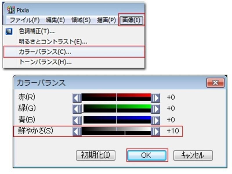 右目と左目それぞれのレイヤーに同じ値で彩度を高めます。