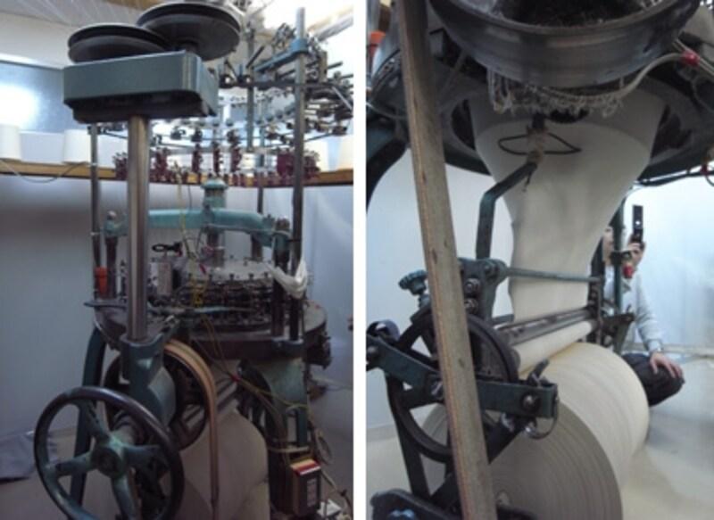 工場内にあった、丸編みの機械。リブを筒状に編んでいきます。