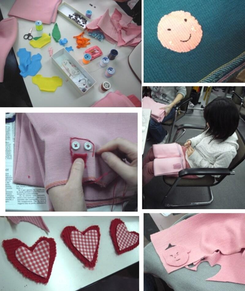 布を切り抜いて刺繍して、子供たちも大活躍!