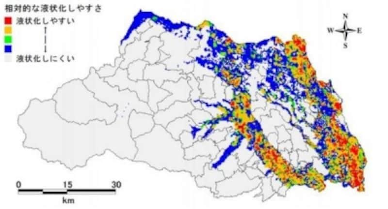 埼玉県undefined相対的な液状化のしやすさ(出典:埼玉県「液状化の被害予測」)