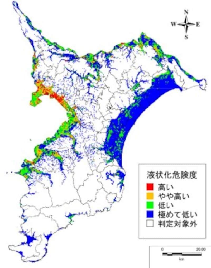 千葉県北西部直下地震が起きた際の液状化の危険度(出典:平成26・27年度千葉県地震被害想定調査報告書)