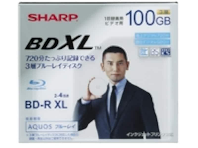 シャープ製BDXLメディア。3層で100GBの容量を記録できます