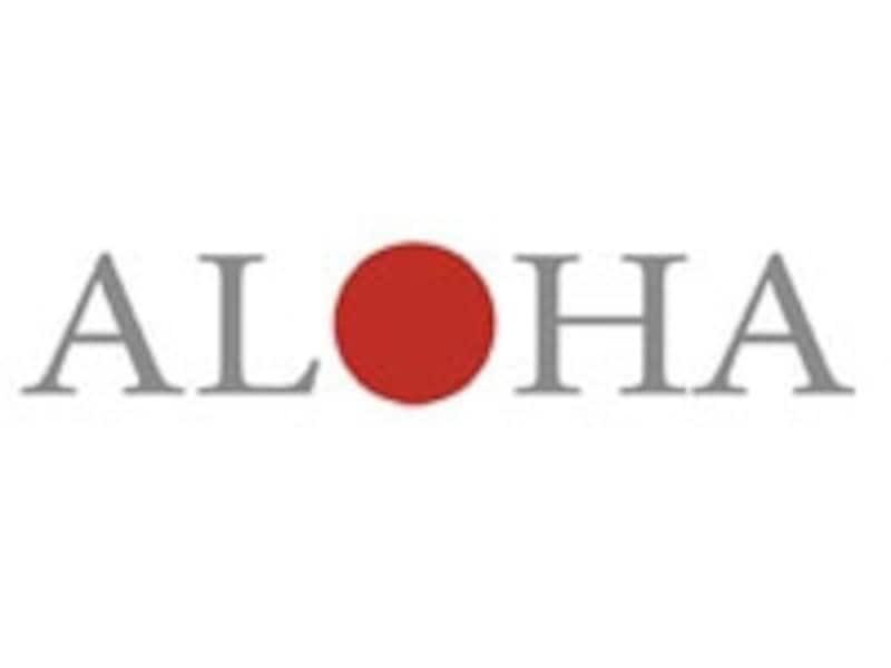 ALOHAに日の丸がデザインされたチャリティプログラムのロゴ。チャリティTシャツの胸にもこのロゴが入る