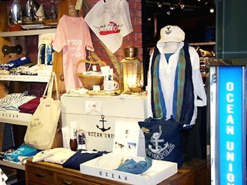 2号館2階「YOKOHAMAOCEANUNION」では、横浜らしいマリンなファッション、グッズがそろいます