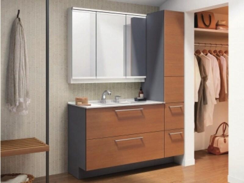 ウォークインクロゼットと隣接させた洗面空間であれば、着替えもしやすい。[エスクアLS]undefinedTOTOundefinedhttps://jp.toto.com/