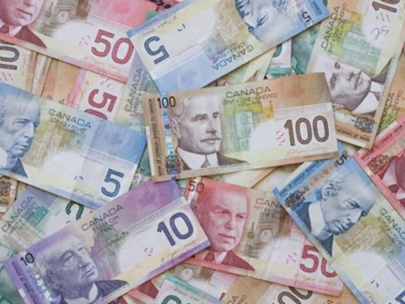数字が大きく記載されているカナダドル紙幣は額面が一目瞭然