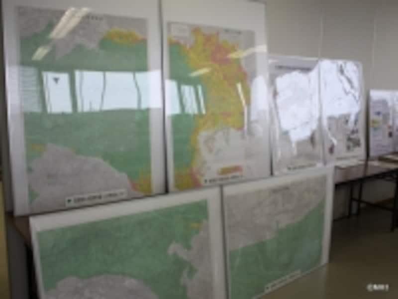 同センターにある液状化予測図パネル