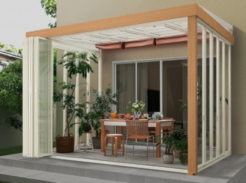 オープンに開放することができるタイプであれば、庭との一体感も生まれる。[EXSIOR ジーマ] LIXIL http://www.lixil.co.jp/
