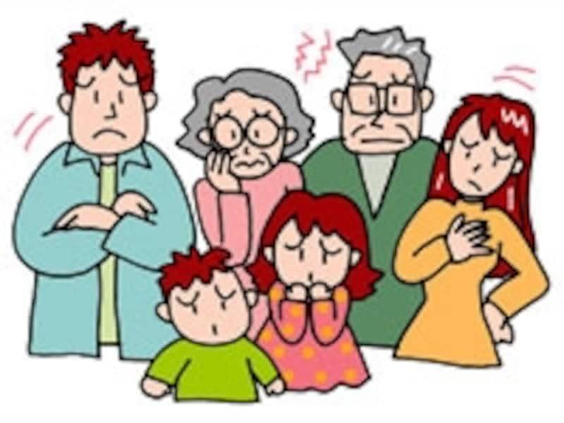 困り顔の家族