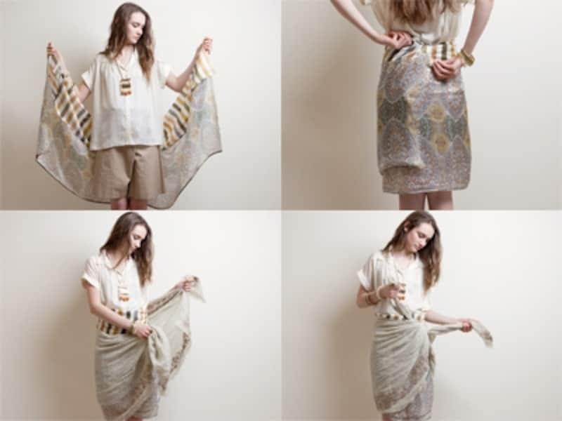 布が溶け合うレイヤードスカート