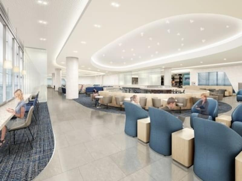 新しいラウンジはサービスもグレードアップ。よりくつろげる空間に。イメージはプレステージクラスラウンジ(C)大韓航空