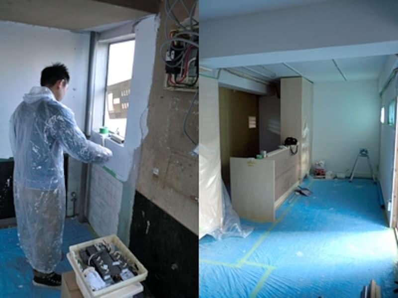 (左)塗料を扱う際はレインコートで完全装備です。