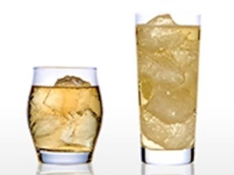 左:ウイスキー&ウォーター、右:ウイスキー&ソーダ