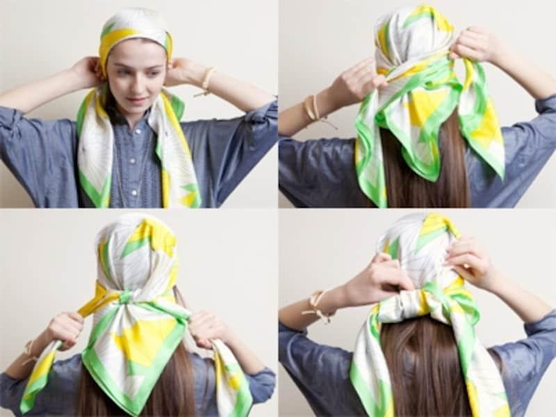 デニムダンガリーシャツとも好相性のスカーフ