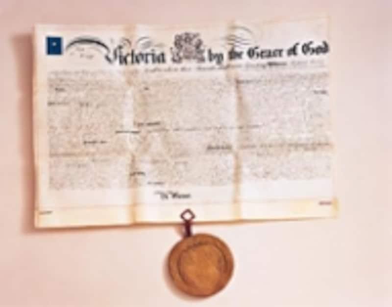創業者のアロンゾ・タウンゼント・クロスが取得した最初の特許証明書