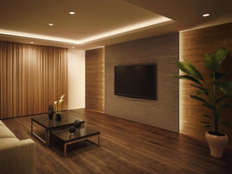 床材・ドア・収納など、内装材とのトータルコーディネートが可能。壁パネルの組み合わせでモダンな雰囲気を演出できる。[シート化粧壁材ハピアウォールデザインタイプ]undefinedDAIKENhttps://www.daiken.jp/
