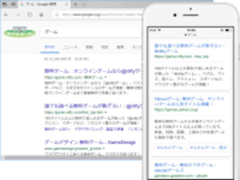 PCでの検索結果と、スマホでの検索結果とでは表示内容が異なる(スマホでの検索時には、スマホ対応サイトが優先)