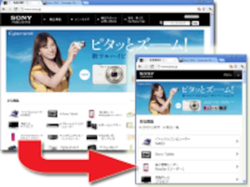 画面幅に合わせてレイアウトが適切に変化する「レスポンシブWebデザイン」を採用したWebページなら、スマホにも対応させやすい