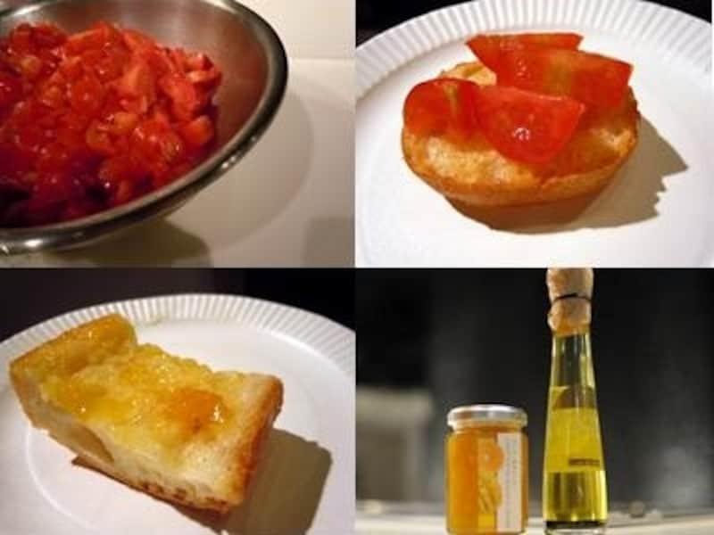 トマトのブルスケッタ、マンゴー&オレンジジャムとオリーブオイルのカナッペ、マンゴー&オレンジジャム(588円)とオリーブオイル/バジル(683円)