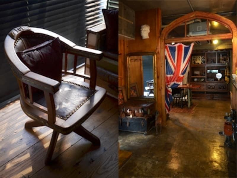 左:小さな半個室空間に置かれていた椅子。革にびっしりと鋲が並んで。