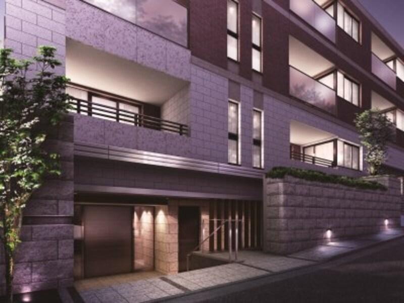 基壇部に用いられた御影石が邸宅街にふさわしい風格を生むエントランス完成予想CG