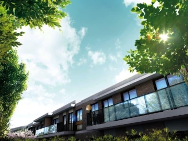 ガラス様のバルコニー壁に蘇峰公園の緑が映える外観完成予想CG
