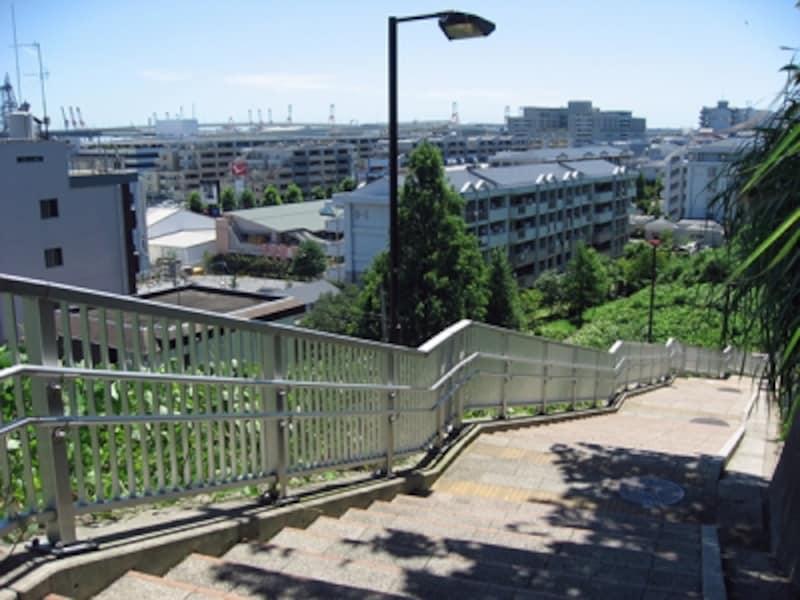 神奈川近代文学館の横の霧笛橋を渡って降りていくと、チドリ坂(ムジナ坂)があります