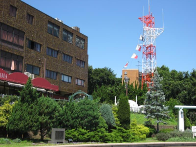 港の見える丘公園から見える「東洋信号通信社」の信号旗。海が掲げる「U・Wフラッグ」のよう(2011年7月10日撮影)