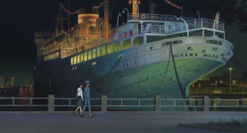 海と俊が歩くシーンに描かれている氷川丸(スタジオジブリ提供)