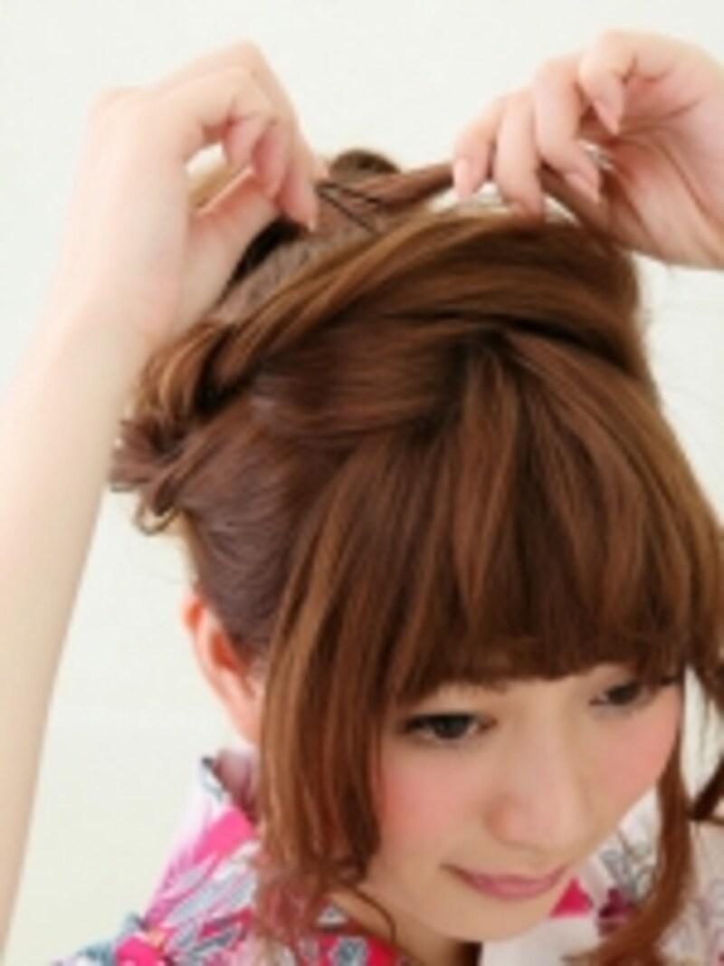 髪が長い場合は結び目に何周か巻きつける
