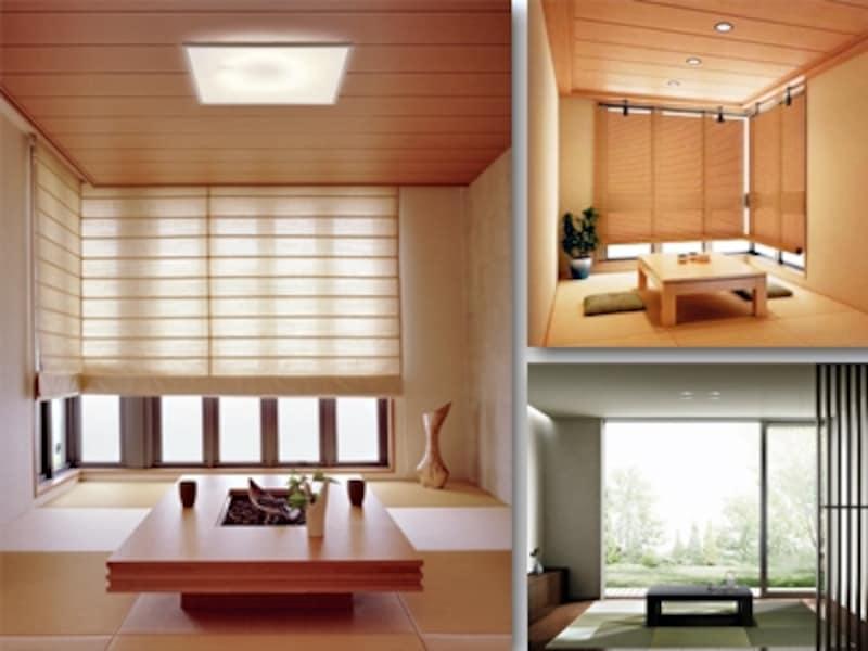 天井にスッキリ納まる照明ならリビングから続く和室もまとめやすい[左:高さ10cm以下のシーリング照明/パナソニック、右上:ダウンライト/コイズミ照明、右下:/パナソニック]