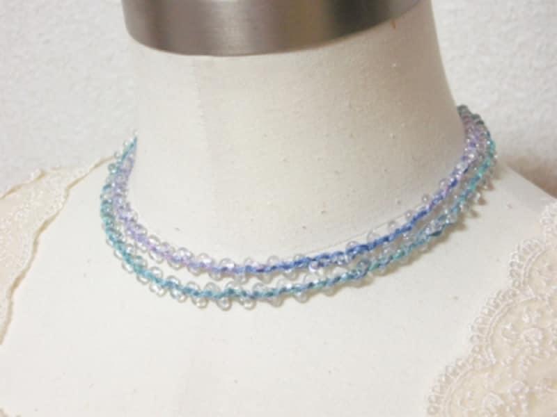 刺繍糸で編むビーズネックレス