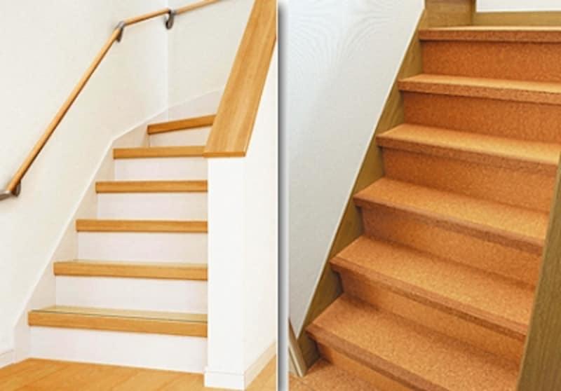 左:インテリアのイメージに合わせて白い蹴込み板にすることもできるリフォーム用階段材(パナソニック) 右:滑りにくく歩行感に優れたコルクのリフォーム用階段材(東亜コルク)