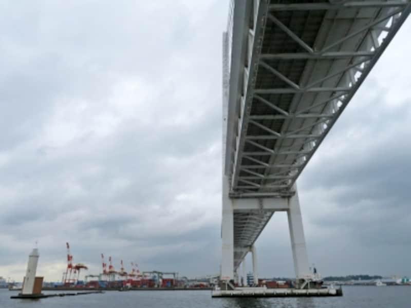 横浜ベイブリッジをくぐれるのは、横浜港クルージングの醍醐味。行きと戻りの2回、その迫力を満喫できます(2016年8月29日撮影)